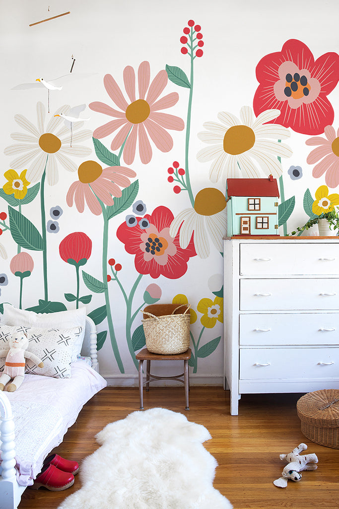 Flower Garden removable wallpaper mural by This Little Street, perfect for kids' rooms.