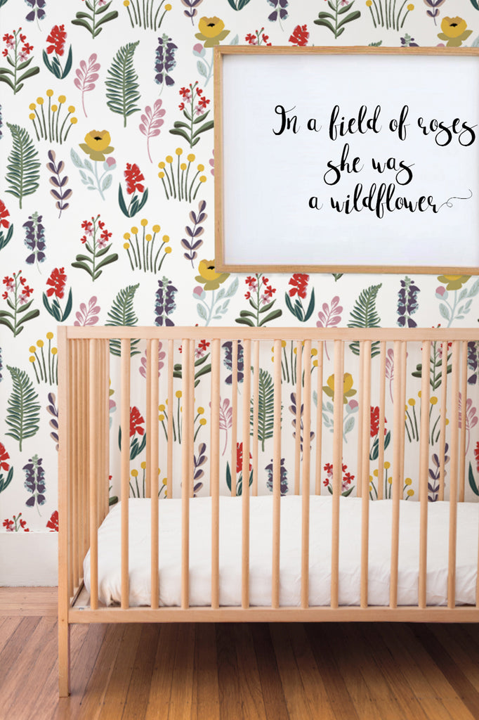 Mountain meadow study removable wallpaper