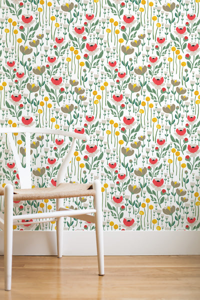 Wonderland floral removable wallpaper - grey