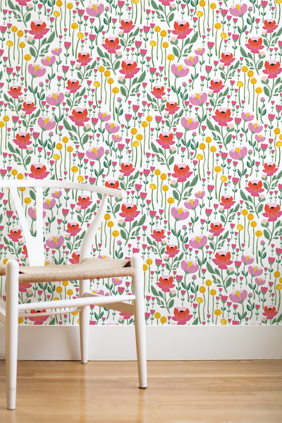 Wonderland floral removable wallpaper - pink