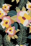 Heavenly floral removable wallpaper - black