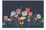 Flower Garden removable wallpaper mural - navy