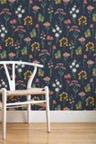 Botanic removable wallpaper - Navy (English Afternoon collection)