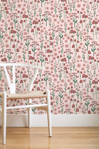 Pink meadow removable wallpaper (English Afternoon collection)