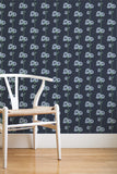 Tea & Crumpets removable wallpaper - Navy (English Afternoon collection)