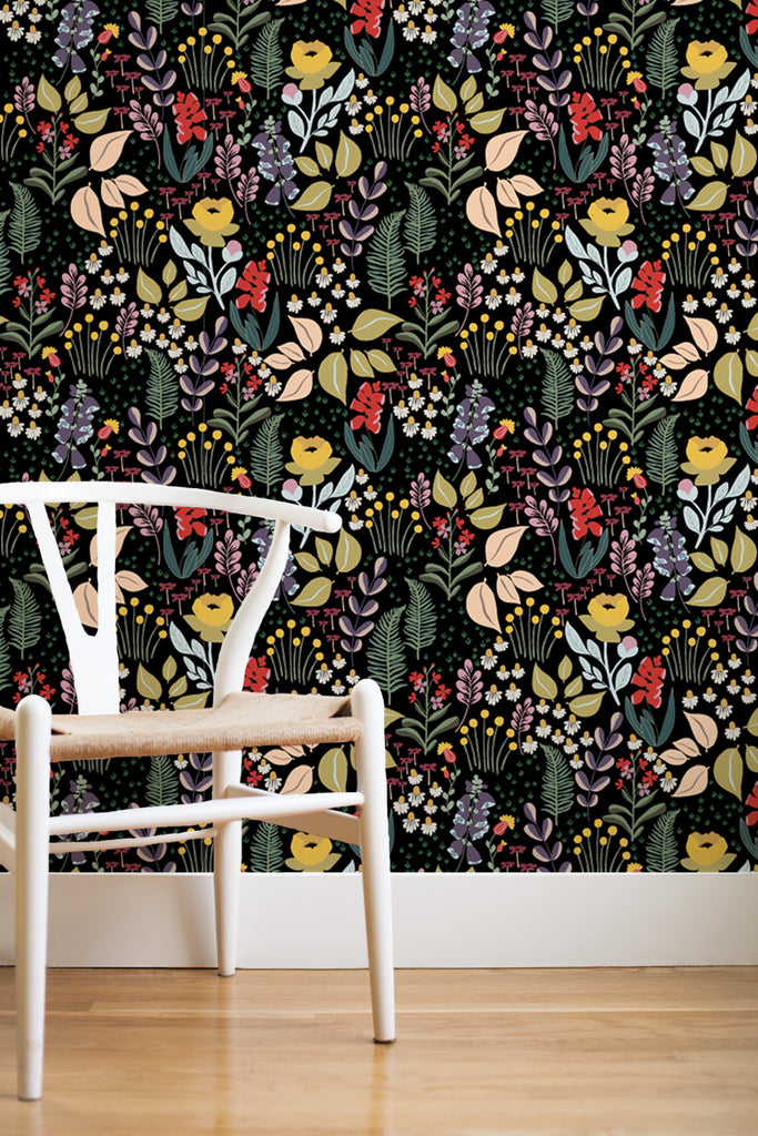 Mountain meadow removable wallpaper - black