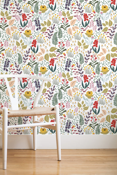 Mountain meadow removable wallpaper - white