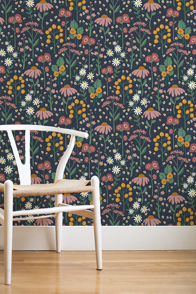 English garden removable wallpaper - navy (English Afternoon collection)