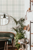 Cottage plaid removable wallpaper - green (English Afternoon collection)