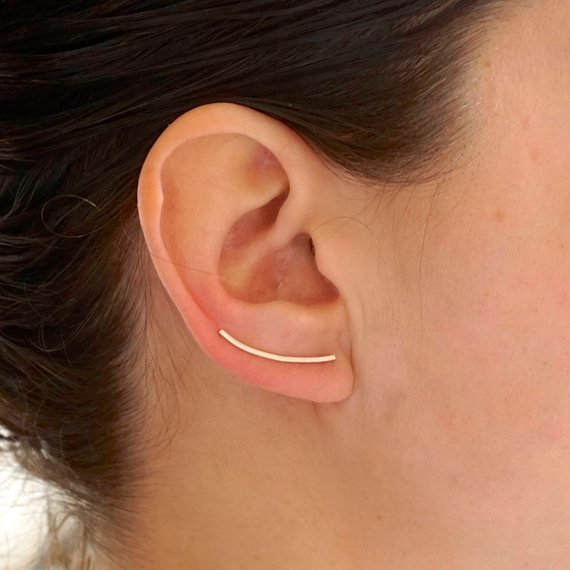 Hand-Made and Elegant Curved Bar Earrings With Rounded Edges  -  0030 - Virginia Wynne Designs