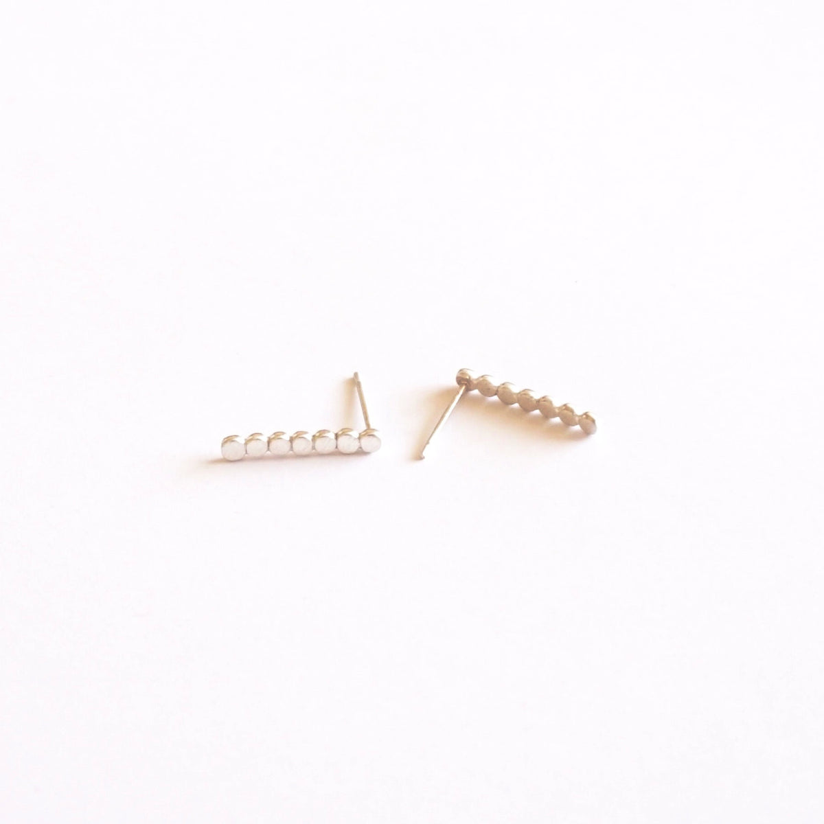 Long Circle Minimalistic Hand-Made Silver Bar Stud Earrings - 0216 - Virginia Wynne Designs