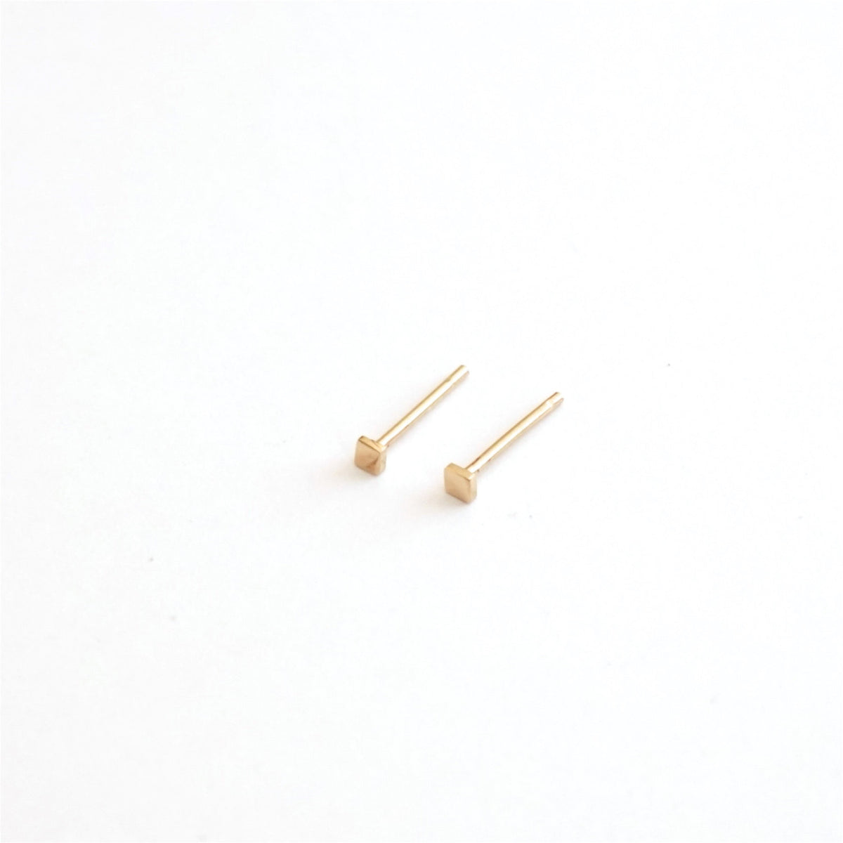 Contemporary Classic Hand-Made Square 14K Gold Stud Earrings  -  0151 - Virginia Wynne Designs