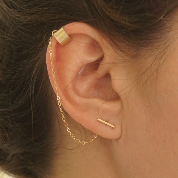 Chic Yet Edgy Hand-Made Staple Bar Stud Earrings With Single Chained Ear Cuff - 0276 - Virginia Wynne Designs