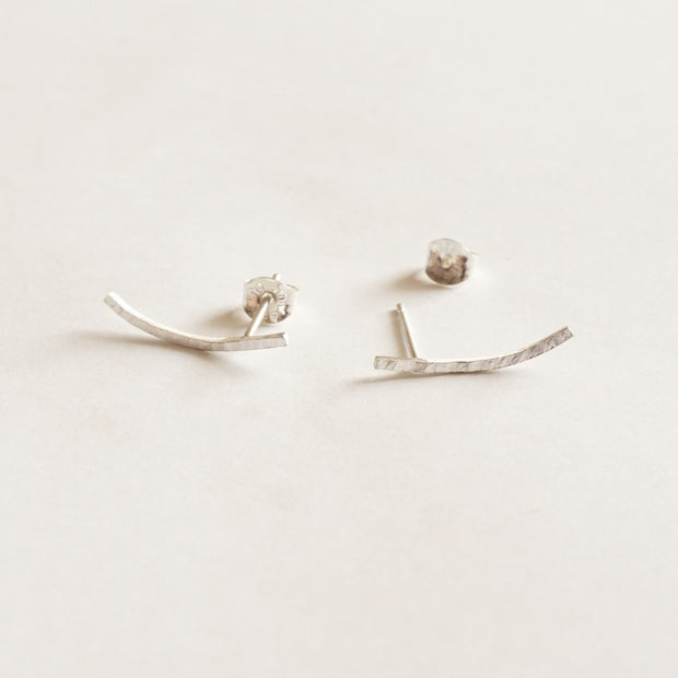Modern and Distinctive Hand-Made Hammered Texture Ear Climber Bar Studs Earrings  - 0237 - Virginia Wynne Designs