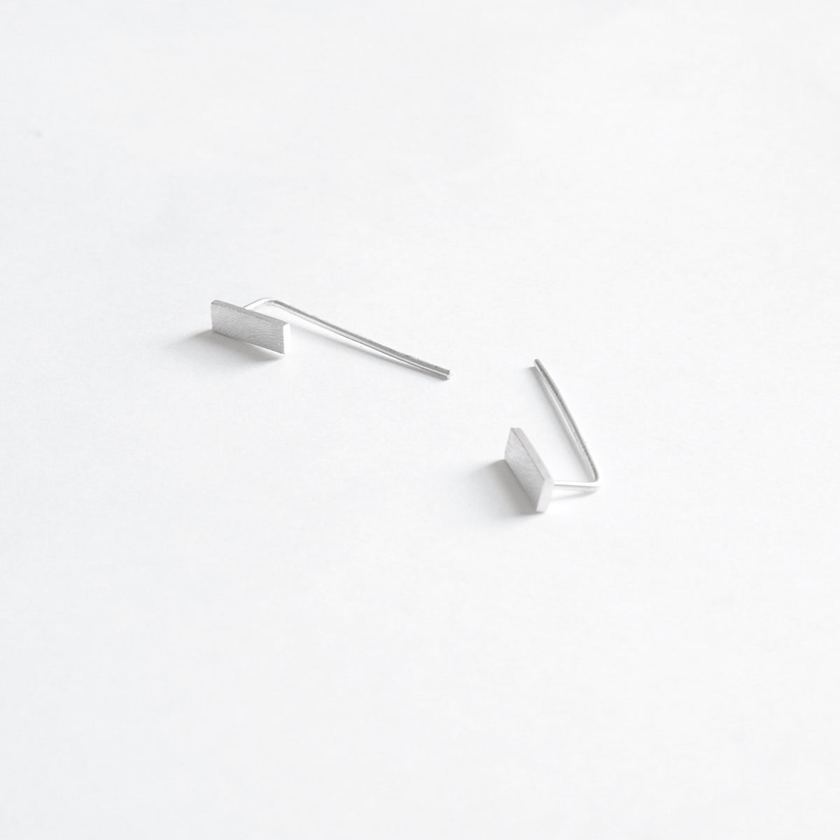 Understated Yet Elegant Hand-Made Sterling Silver Rectangle Flat Bar Threader Earrings - 0242 - Virginia Wynne Designs