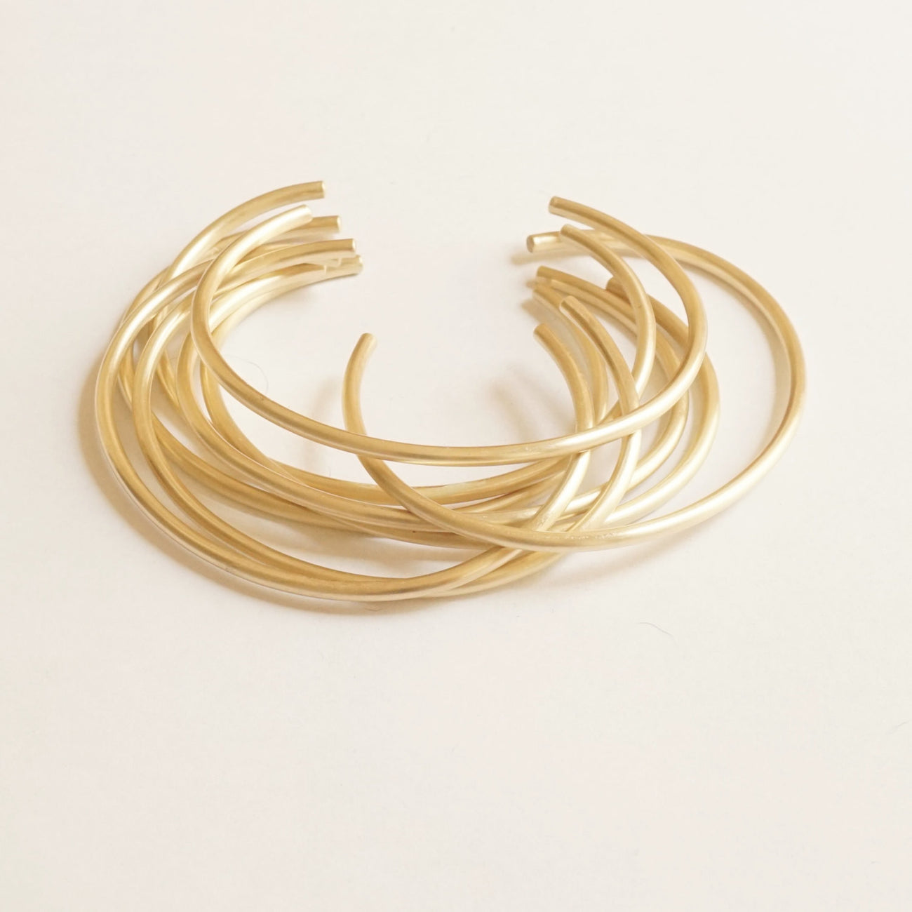Elegant Yet Affordable - A Set Of Four Hand-Made Adjustable Brass Cuff Stacking Bracelets - 0052 - Virginia Wynne Designs