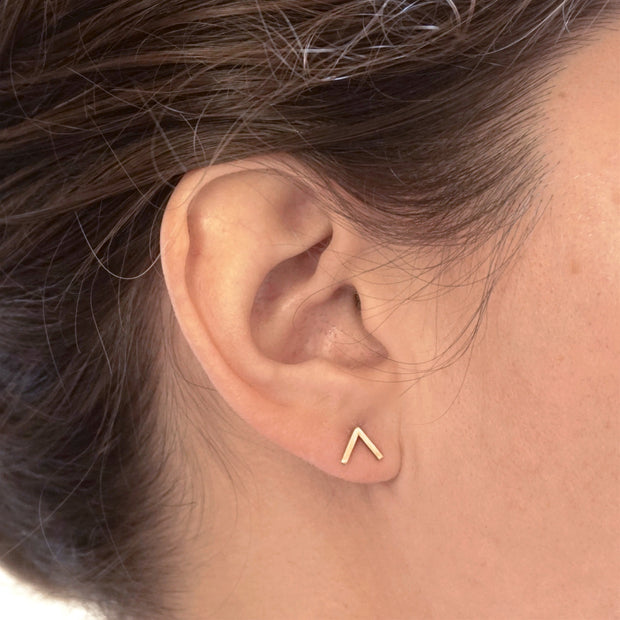 Classic and Stylish - Hand-Crafted  V Stud Earrings - 0257 - Virginia Wynne Designs