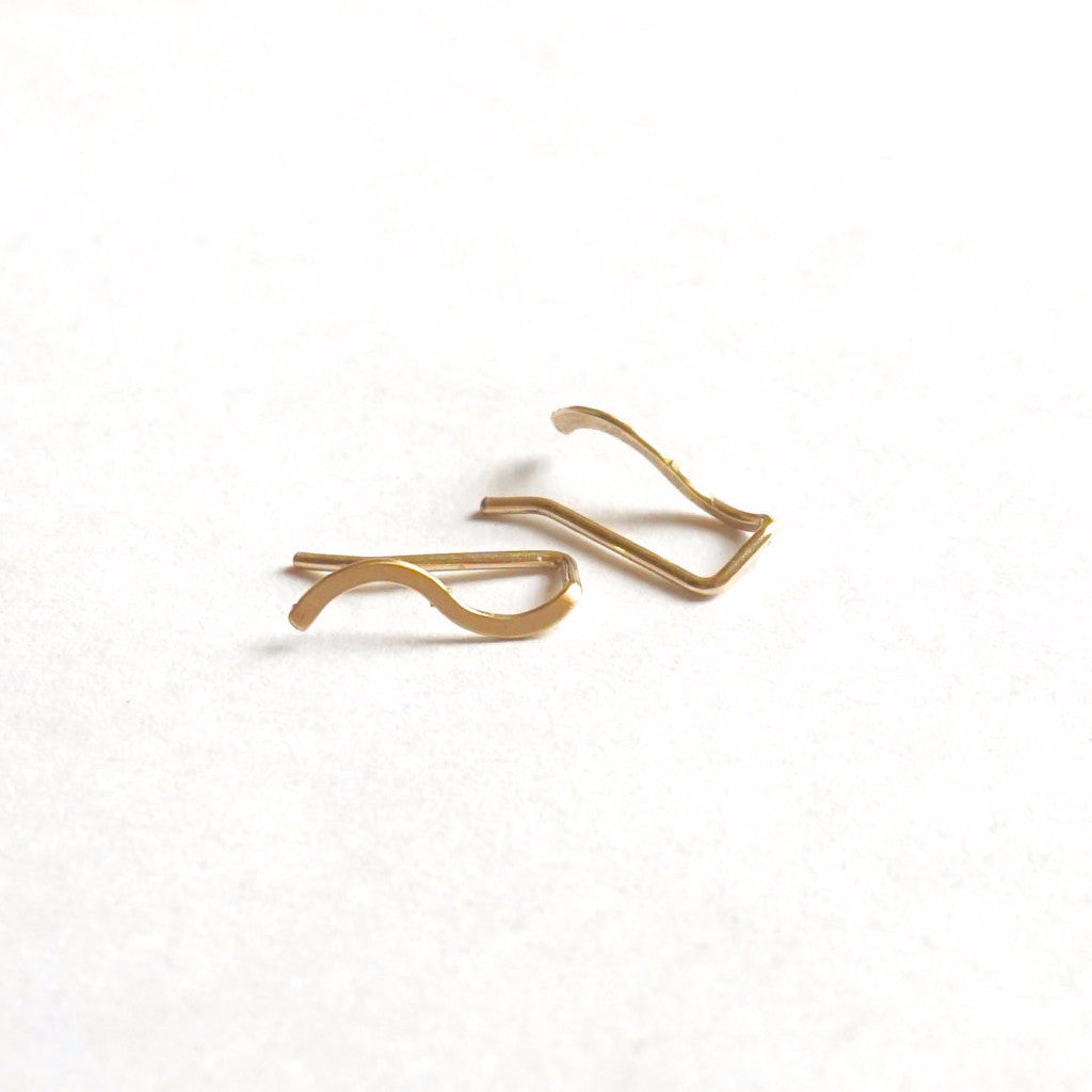 Contemporary Chic Design Hand-Made Small Wave Ear Climber Earrings - 0244 - Virginia Wynne Designs