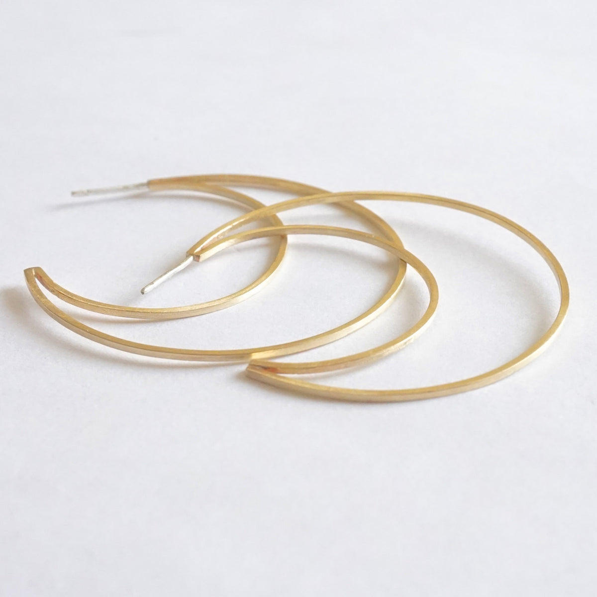 Contemporary, Hand-Crafted, Open Flat Crescent Hoop Earrings With Brushed Finish in Copper, Brass, Sterling Silver, 14K Gold or 14K Rose Gold - 0261 - Virginia Wynne Designs
