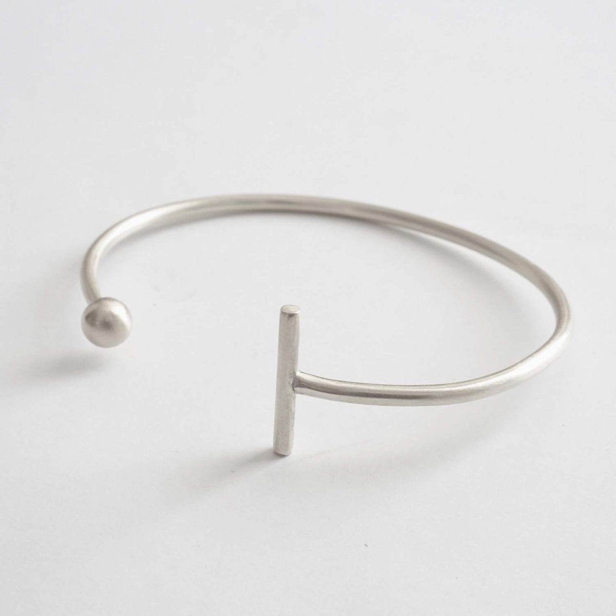 This Hand-Crafted Minimalist Bar and Ball Cuff Bracelet Is Great For The Office or A Night On The Town - 0274 - Virginia Wynne Designs
