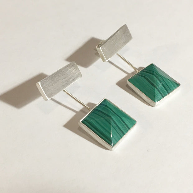 Unique and Distinctive Thick Bar Stone Ear Jacket Stud Earrings - 0268 - Virginia Wynne Designs