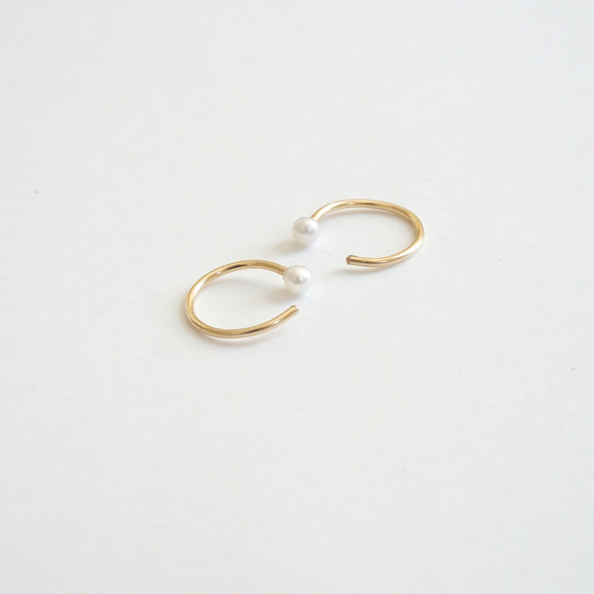 Elegant And Well Designed Hand-Made Tiny Pearl Hugging Hoop Earrings - 0270 - Virginia Wynne Designs