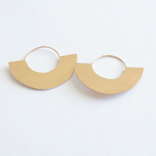 Chic Minimalist Half Circle Hand-Made Dangle Hoop Earrings - 0271 - Virginia Wynne Designs
