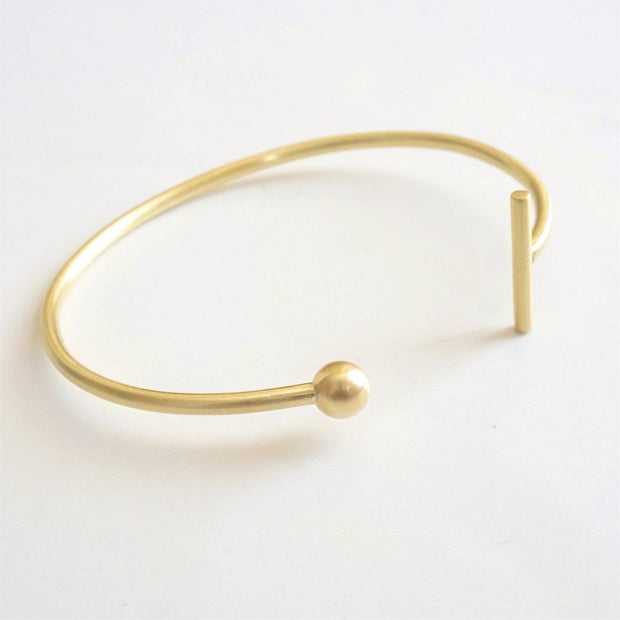 Hand-Crafted Minimalist Bar and Ball Cuff Bracelet - 0274 - Virginia Wynne Designs
