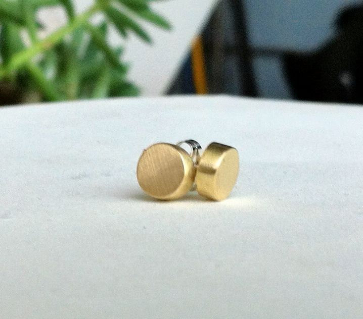 Stylish, Well Designed Solid Hand-Crafted Gold Colored Circular Brass Studs - 0141 - Virginia Wynne Designs