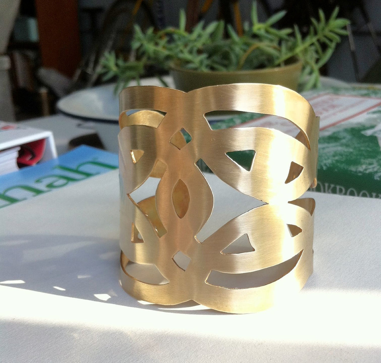 Large, Gold Colored Brass, Hand-Made Cut Out Cuff Bracelet - 0077 - Virginia Wynne Designs