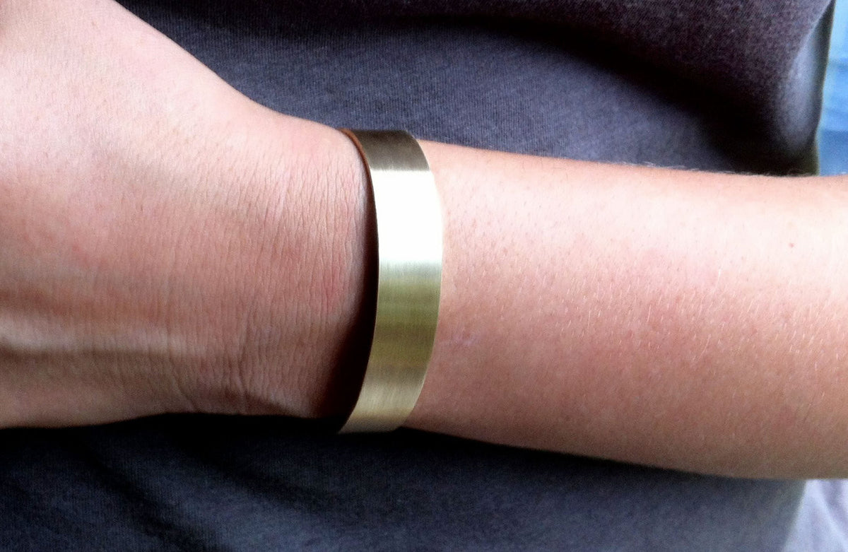 Contemporary Hand-Made Adjustable Rectangle Plain Cuff Bracelet in Honey Colored Brass - 0075 - Virginia Wynne Designs