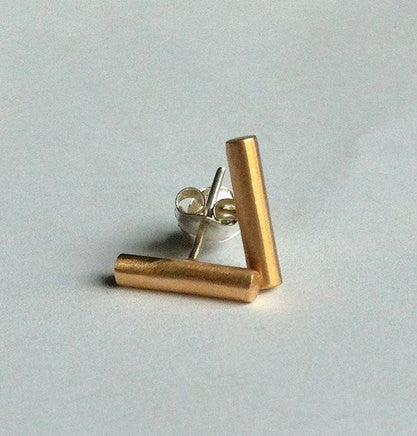 Simple, Understated, Hand-Made Gold Colored Brass Bar Stud Earring - 0018 - Virginia Wynne Designs