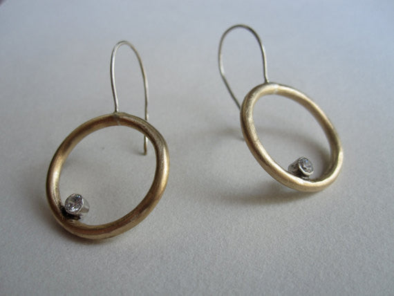 Distinctive Hand-Made Dangle Circular Earrings with Sterling Silver Tube Set Cubic Zirconia  - 0063 - Virginia Wynne Designs