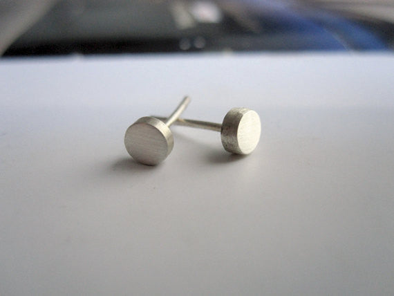 Hand-Made, Mini Solid Round Stud Earrings in Sterling Silver, Silver Oxidized or 14K Gold - 0014 - Virginia Wynne Designs