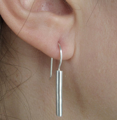 Stylish Solid Sterling Silver Bar Drop Earrings With A Silver French Hook - 0099 - Virginia Wynne Designs