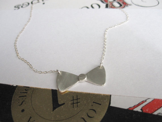 Stylish Hand-Crafted Sterling Silver Bow Tie Pendent On Sterling Silver Chain - 0091 - Virginia Wynne Designs