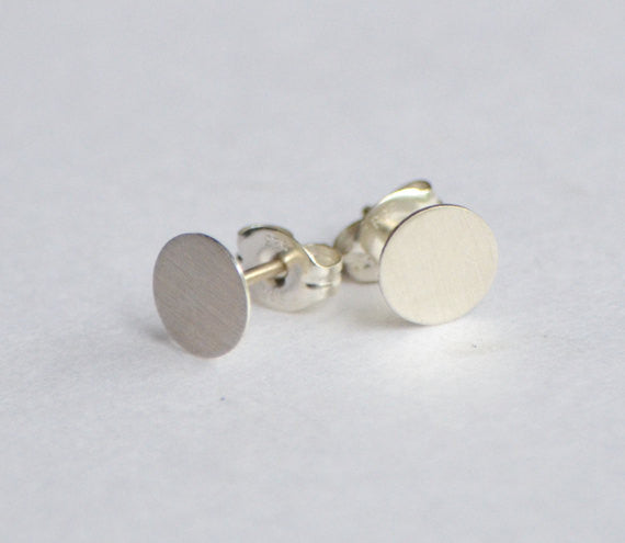 Modern Elegance in These Hand-Made Sterling Silver Flat Circle Studs Earrings - 0239 - Virginia Wynne Designs