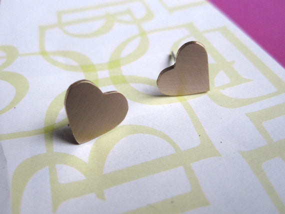 Tasteful and Fun - Hand-Made, Smooth Shaped Heart Studs - 0042 - Virginia Wynne Designs