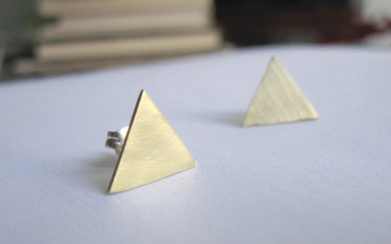 Contemporary and Modern Large Triangle Stud Earrings - 0009 - Virginia Wynne Designs