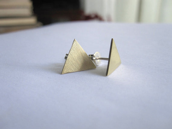 Contemporary and Modern Large Triangle Stud Earrings in Brass, Sterling Silver, Silver Oxide and 14K Gold  - 0009 - Virginia Wynne Designs