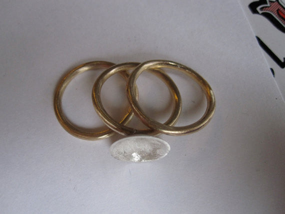 Unique Set Of Three Stacking Rings With Sterling Silver Matte Finish Concave Dome  - 0083 - Virginia Wynne Designs