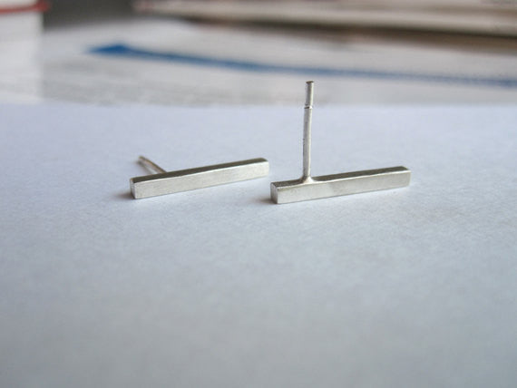 Chic Minimalist Hand-Made Square Line Dangle Bar Stud Earrings - 0072 - Virginia Wynne Designs