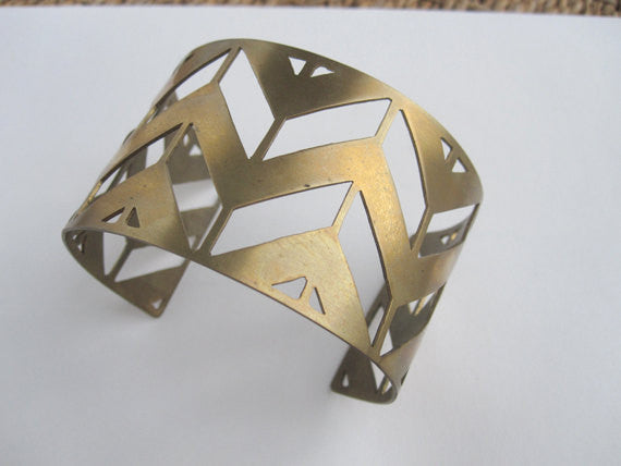 Hand-Made Geometric Chevron Open Cuff Bracelet in Gold Colored Brass - 0080 - Virginia Wynne Designs