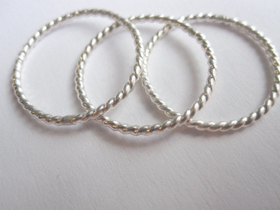 Well Designed, Distinctive and Elegant Sterling Silver & 14k Gold Twisted Stackable Rings - 0057 - Virginia Wynne Designs