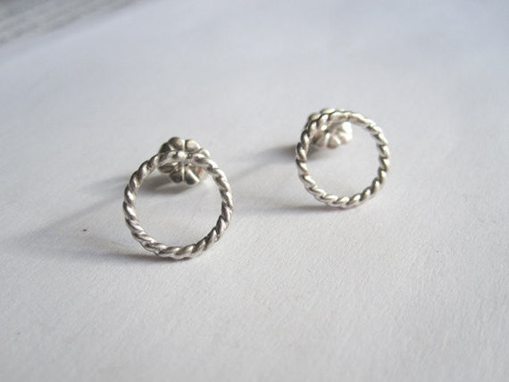 "Classy and Stylish, Hand-Crafted Sterling Silver ""Twisted Rope"" Stud Earrings - 0064 - Virginia Wynne Designs"