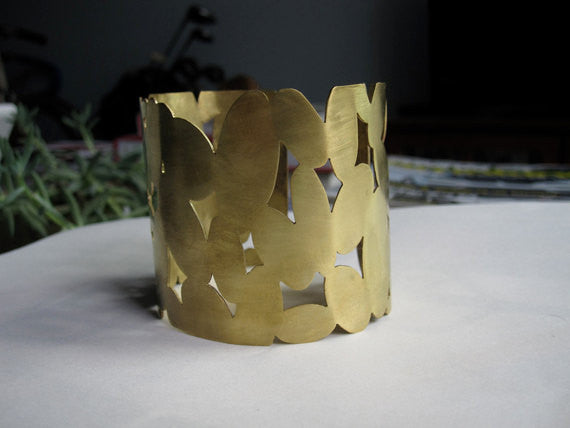 Unique Contemporary Classic Large Hand-Made Oval, Cut Out Gold Colored Brass Cuff Bracelet - 0082 - Virginia Wynne Designs