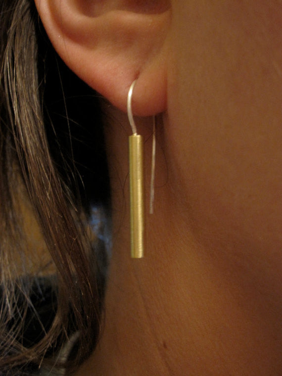 Simple and Elegant Gold Colored Brass Straight Bar Dangle Earrings With Silver French Hook - 0062 - Virginia Wynne Designs