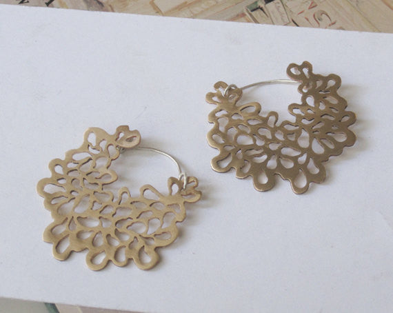 Exceptional, One-of-a Kind, Hand-Made Cut-Out Hoop Earrings - 0090 - Virginia Wynne Designs