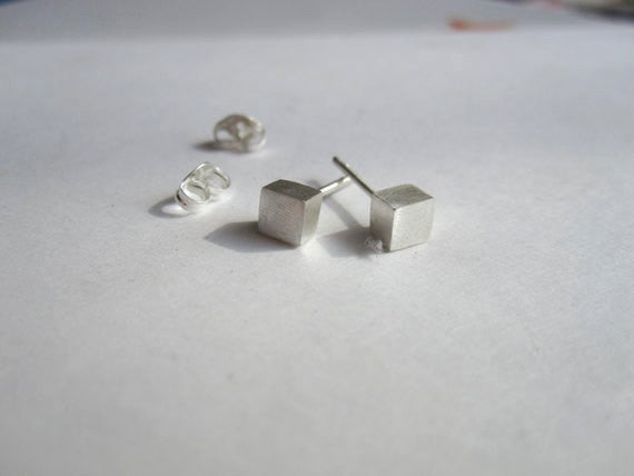Contemporary Elegance - Sterling Silver Square Cube Stud Earrings - 0016 - Virginia Wynne Designs