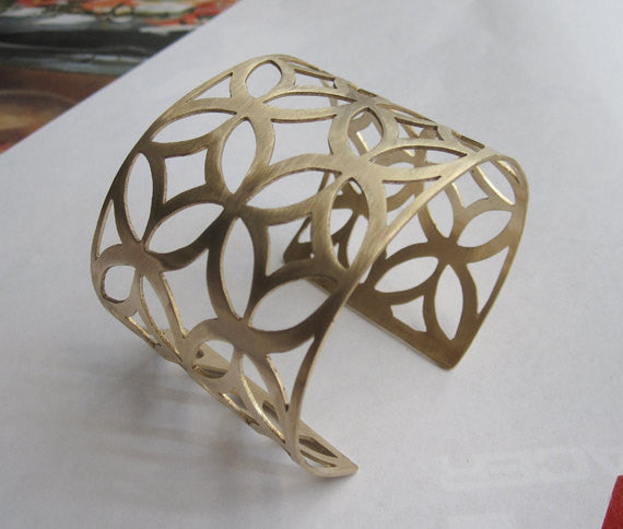 Hand Cut Geometric Adjustable Brass Bracelet 0093